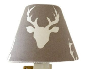 Grey Woodland Deer  Night Light -Grey Night Light-Nursery Night Light-Hello Bear Buck Forest Mist-Baby Boy -Baby girl room-Wall Decor