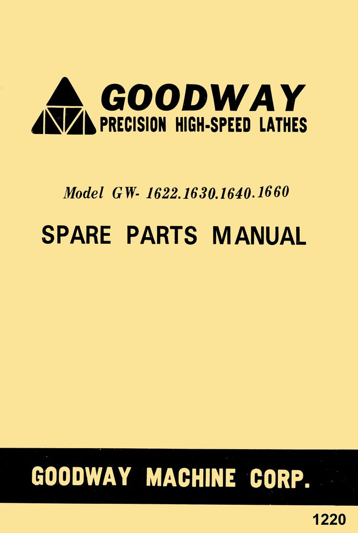 GOODWAY GW-1622,1630,1640,1660 Metal Lathe Parts Manual - https://ozarktoolmanuals.com/machinemanual/goodway-gw-1622163016401660-metal-lathe-parts-manual/