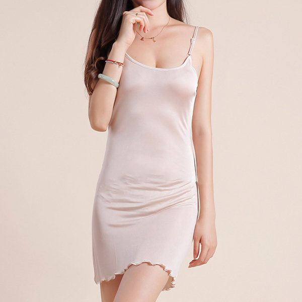 Sexy Silk Backing Adjustable Spaghetti Strap Nightdress Soft Sleepwear Long Nightgown