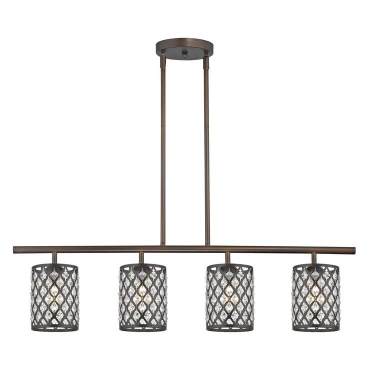 Linear Pendant Light with 4-Lights and Crystal Metal Shades in Bronze Finish at Destination Lighting