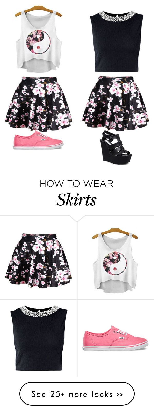 """""""Same skirt,different styles"""" by musicislife166 on Polyvore"""