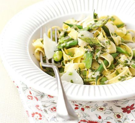 Spring vegetable tagliatelle with lemon & chive sauce. Put some spring into your pasta, with this fresh yet simple supper idea. It's on the table in under half an hour and is low-fat too