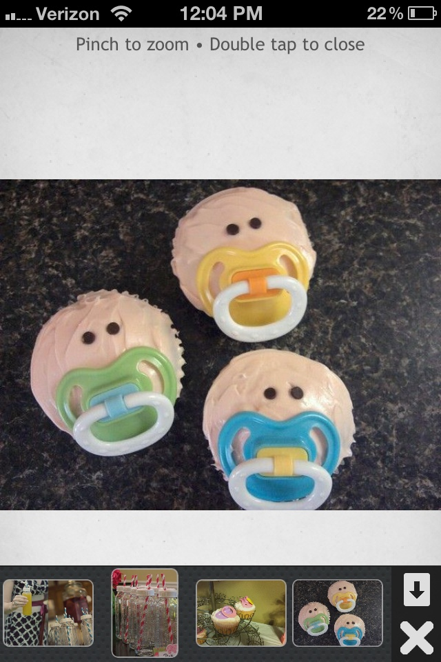 Baby Shower Cup Cakes. Haha these are kinda funny