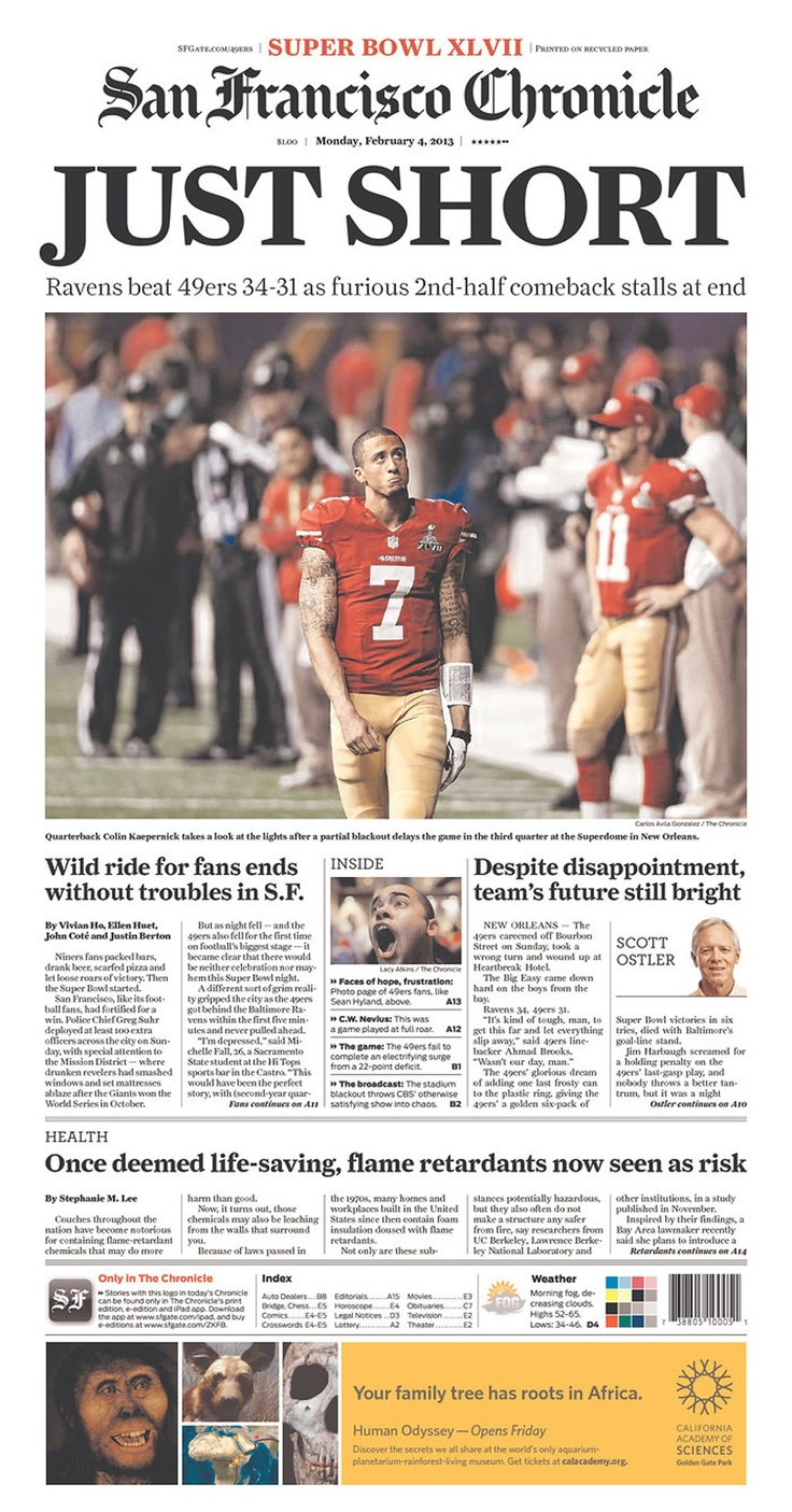 Front page of San Francisco Chronicle (February 4, 2013)