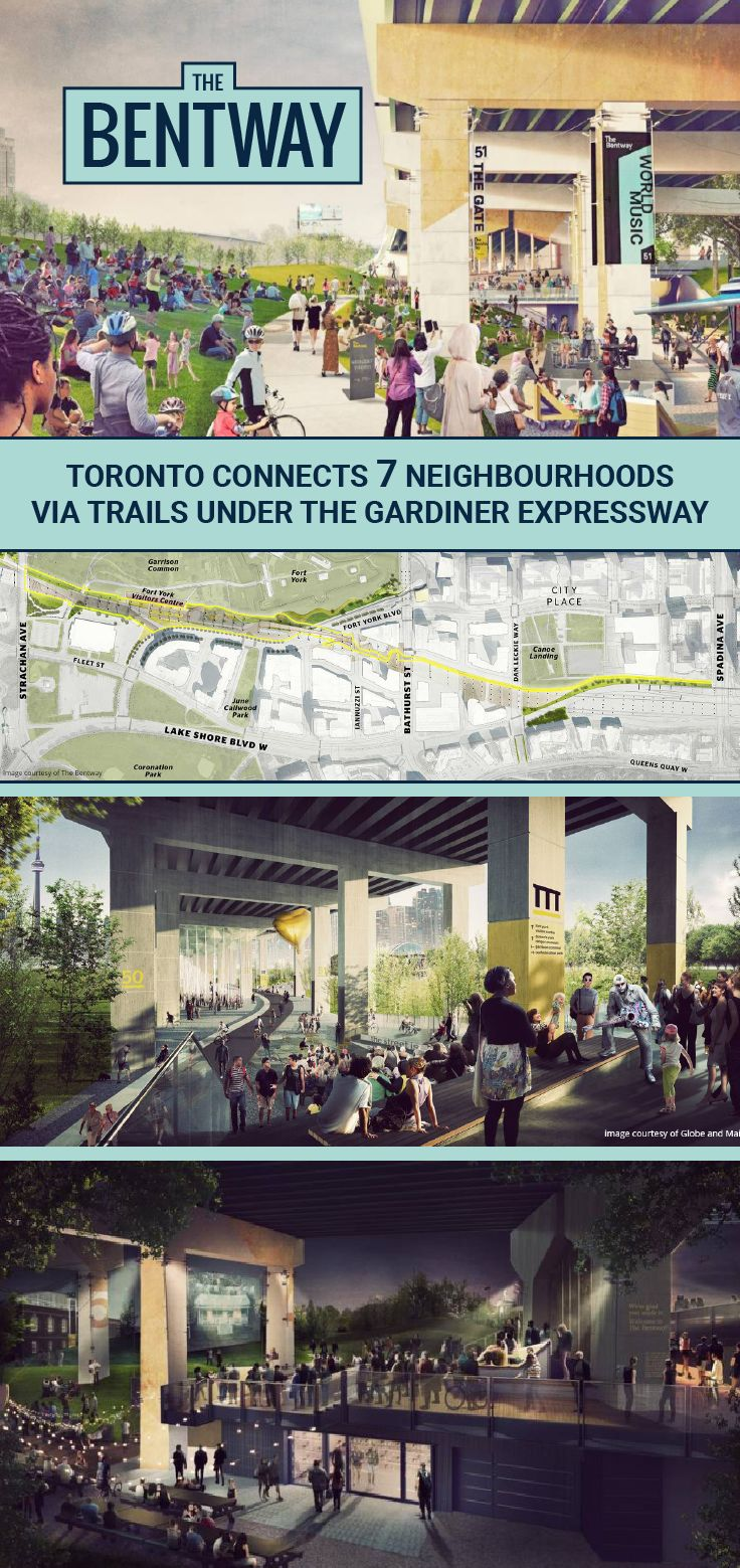 The Bentway is a 1.75km path under Toronto's Gardiner Expressway will be a multi-use trail that connects seven city neighbourhoods.: City Place, Wellington Place, Bathurst Quay, Fort York, Niagara, Liberty Village and Exhibition Place. We can't wait to see this project come to fruition!