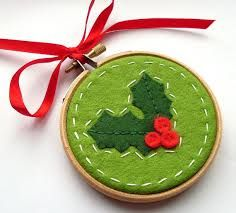 embroidered hoop decoration xmas - Google Search