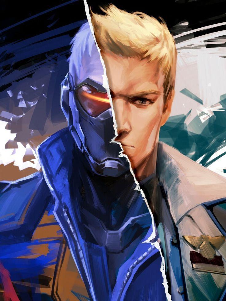 soldier 76 | overwatch fan art | hero fan art blizzard | soldier76 with and without helmet