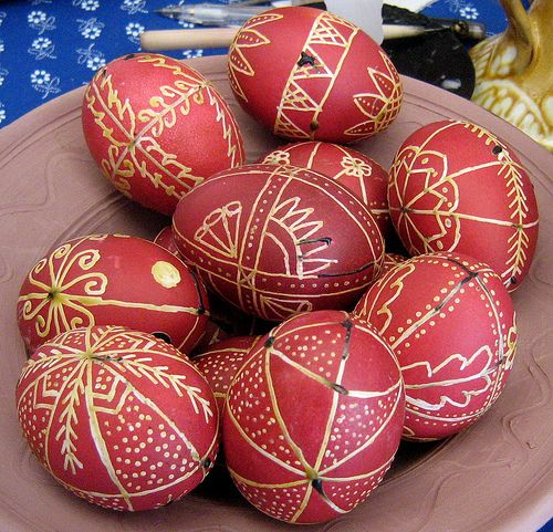 Easter eggs decorated in the Hungarian tradition.  The wax appears to still be in place on these eggs.