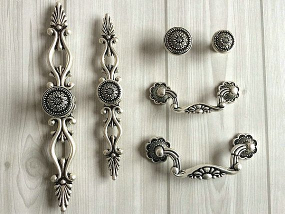 Dresser Knobs Drawer Knobs Pulls Handle Sunflower Antique Silver Black Kitchen Cabinet Handles Knob Pull Vintage Style Decorative Hardware