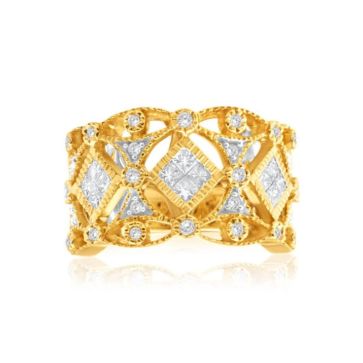 Big and bold ring Diamond Cocktail Ring in 9ct Yellow Gold