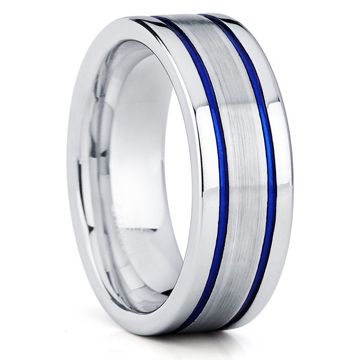 Blue Tungsten Ring Brushed Finish 8mm Comfort Fit
