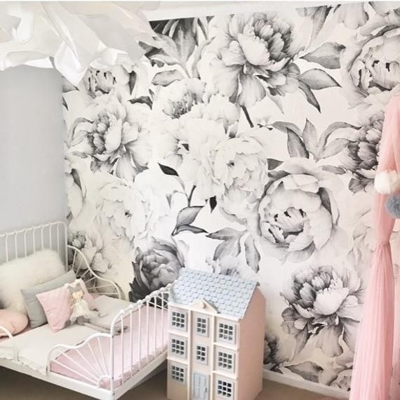 White Peony Removable Wallpaper Peonies Wall Mural Black And Etsy Peony Wallpaper Removable Wallpaper Wall Murals