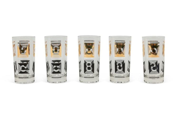 Lara Spencer - Midcentury Bar Glasses, Set of 5