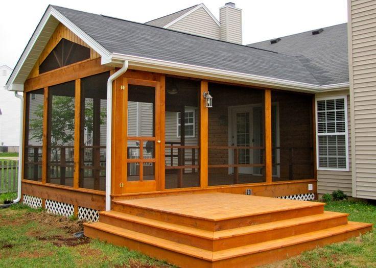 Cedar screen room w side deck curb appeal pinterest for Screen porch plans online