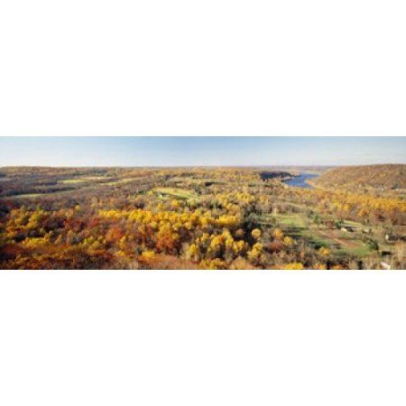 Aerial view of a landscape Delaware River Washington Crossing Bucks County Pennsylvania USA Canvas Art - Panoramic Images (18 x 6)
