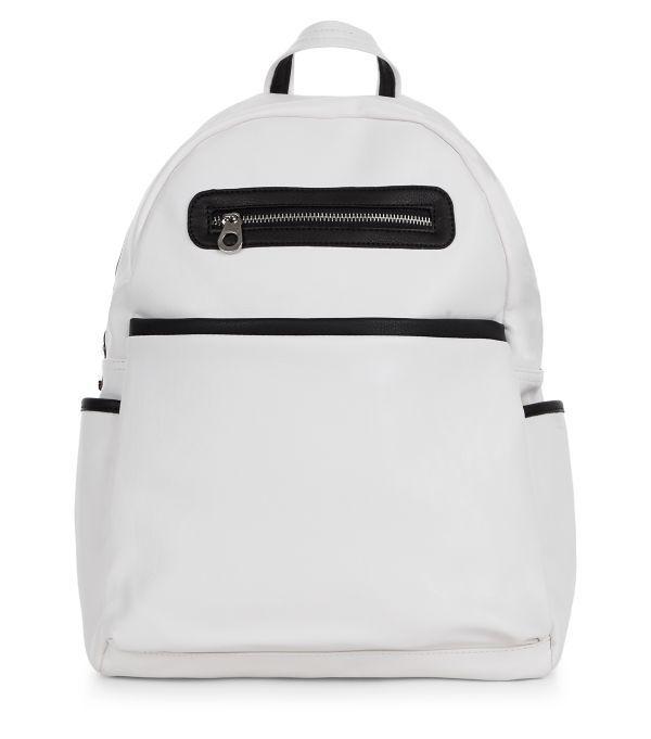 Sac à dos blanc à poche zippée sur le devant | New Look