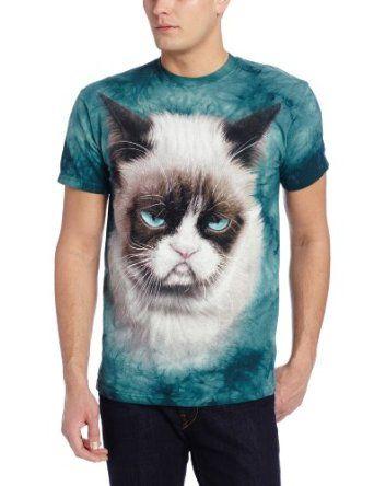 The Mountain Men's Grumpy The Cat T-Shirt, Teal, Large