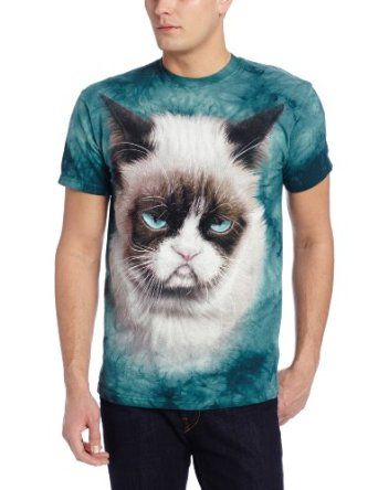 The Mountain Men's Grumpy The Cat T-Shirt, Teal, Large
