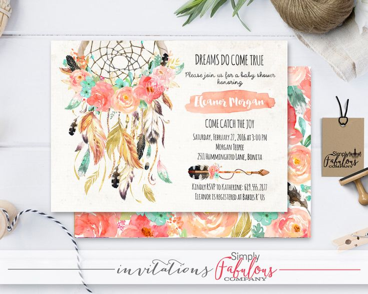 Boho Chic Watercolor Dream Catcher Baby Shower Invitation Big Little One Coral