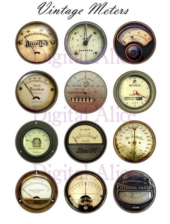 ANTIQUE SCALE DIALS Craft Circles – Industrial Meters and Dials – Instant Download Digital Printabl