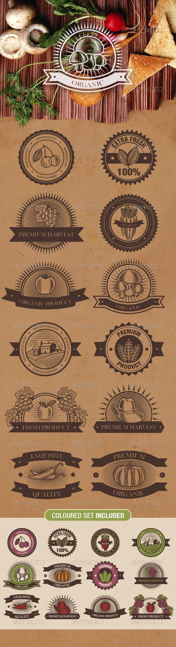 Planche d'exemples de logos pour produits bio, dans un esprit rétro.: