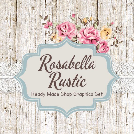 Shabby Chic Shop Banners, Avatar Icon, Business Card, Logo Label + More - Ready Made Etsy Graphics, 12 Premade Files - ROSABELLA RUSTIC