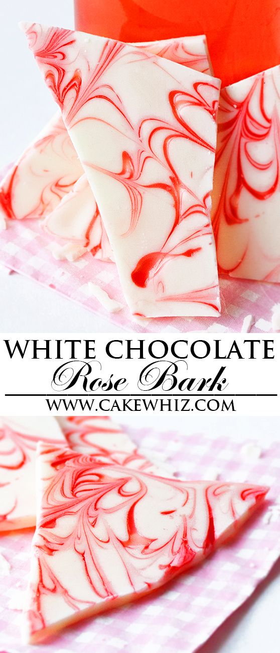 This quick and easy WHITE CHOCOLATE ROSE BARK is made with just 2 ingredients: white chocolate and rose syrup. Great as a dessert, snack or homemade gift for Christmas holidays. From cakewhiz.com