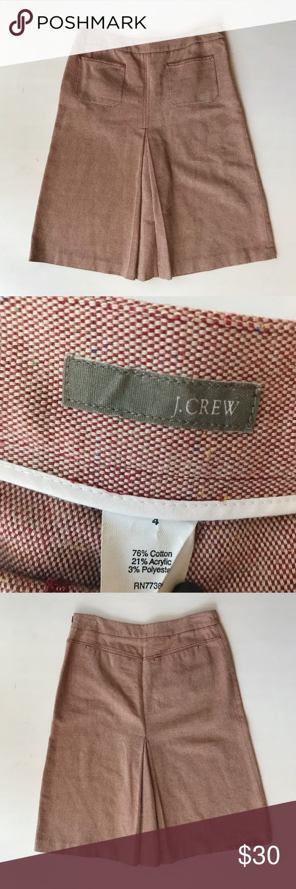 J. Crew A Line Skirt J. Crew skirt with box pleat in front and back, and two pockets in front. Brick red color. Gently used. J. Crew Skirts A-Line or Full