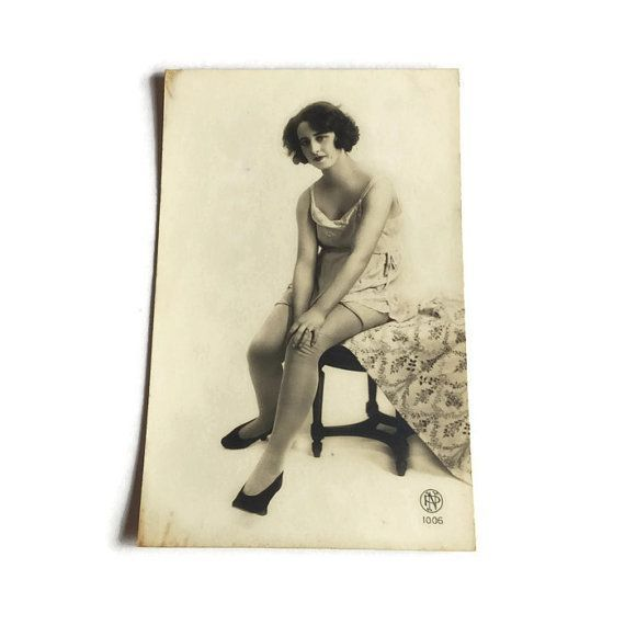 French Vintage Postcard . 1920's Risque Postcard . by Majilly - designer lingerie, aubade lingerie, mature lingerie