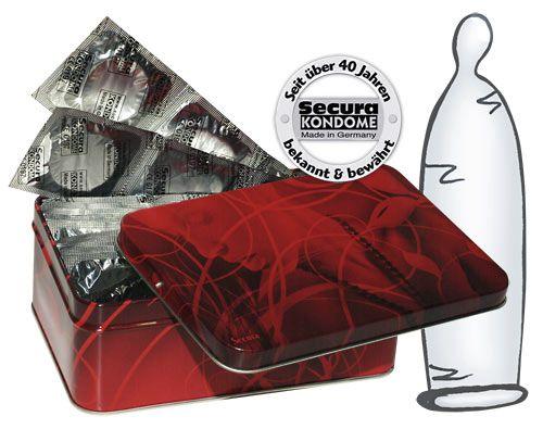 Secura transparent kondomer - 50-pak i dåse fra Secura - Sexlegetøj leveret for blot 29 kr. - 4ushop.dk - Secura Transparent i en stor økonomi pakke med hele 50 stk. Med denne pakke løber du ikke tør lige med det samme - kondomerne er med creme og reservoir. Pakken indeholder 50 stk. og leveres i flot rød metal dåse for nem, diskret og dekorativ opbevaring.