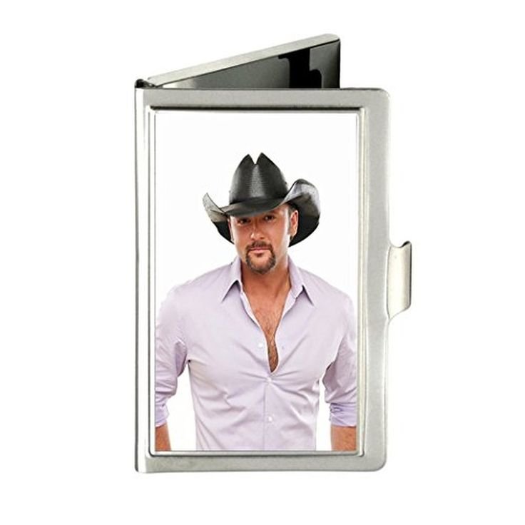 Tim McGraw Custom Unique Business Name Card Wallet Holder Stainless Steel Case with gift box