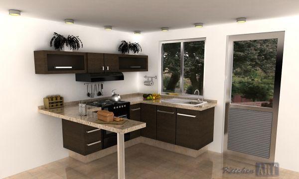 Cocineta en escuadra comedores pinterest cocinas for Cocinas modernas en espacios reducidos