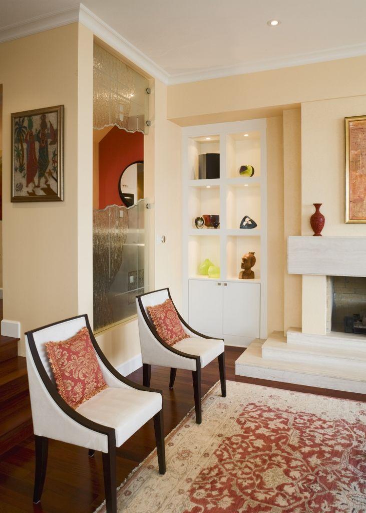 Sitting area with modern furnishings.
