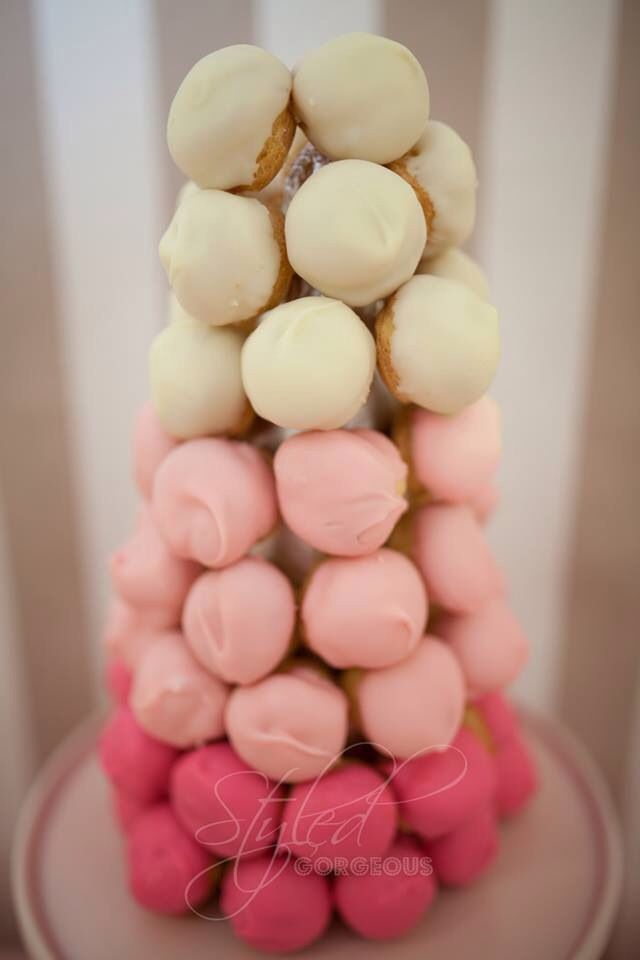 French croquembouche inspired profiterole tower {by Styled Gorgeous www.styledgorgeous.com.au} -- Ice Cream Shoppe party.