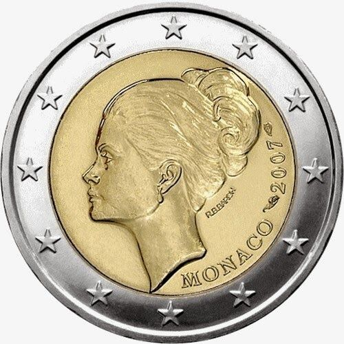 2 Euro Commemorative Coins: 2 euro Monaco 2007, 25th anniversary of the death of Princess Grace Kelly. Commemorative 2 euro coins from Monaco