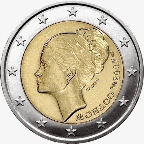 2 Euro Commemorative Coins: 2 euro Monaco 2007, 25th anniversary of the death of Princess Grace Kelly. Commemorative 2 euro coins from Monaco