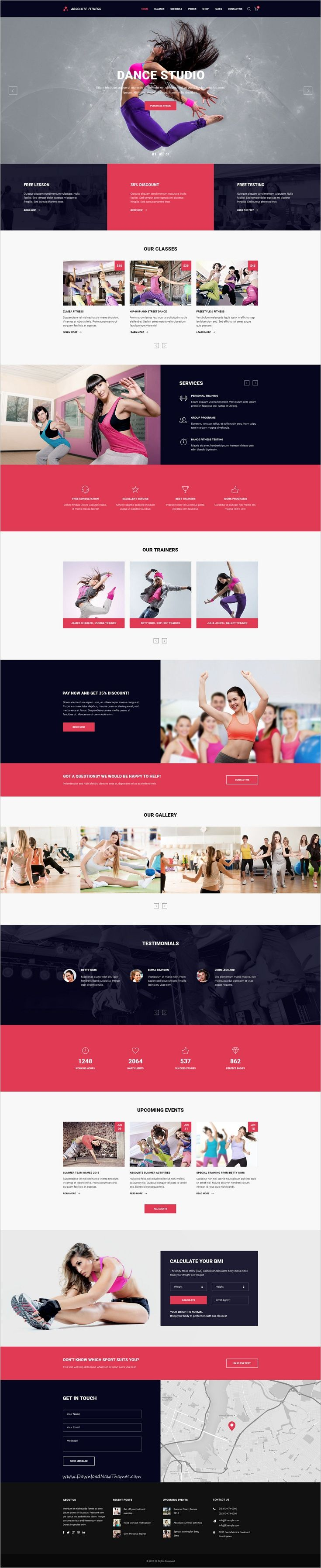 Absolute Fitness is a modern and functional #PSD #Template for #dance #studio sports clubs in different directions: Fitness, GYM, Bodybuilding, Boxing, Dancing, Yoga, Personal Trainer website with 13 unique homepage layouts and 46 organized PSD pages download now➩ https://themeforest.net/item/absolute-fitness-psd-template/18599187?ref=Datasata