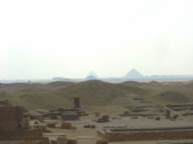 Cairo, Egypt, view of Pyramids from Saqqara including The Bent Pyramid at Dahshur