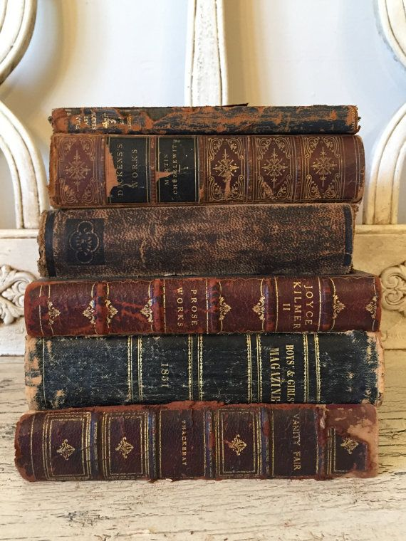 Antique Rustic Book Stack from 1880s - Tattered, Distressed Leather Books - Instant Library - Farmhouse Books
