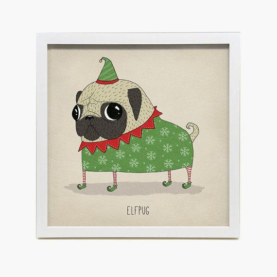 Art print  Elfrpug Christmas Pugs by agrapedesign on Etsy, kr200.00