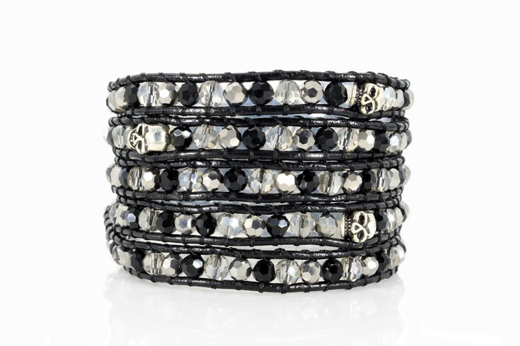 BIKER Wrap Bracelet by #Beautiz. Beautiful 5 layer handcrafted leather wrap bracelet. Real Onyx and Jet Hematite Stones, Swaroski Crystals and silver color skulls. Stainless Steel and Nickel-Free Clasp. Shop here: http://www.beautiz.net/english/fashion-jewelry/bracelets/wrap-bracelets/biker.html