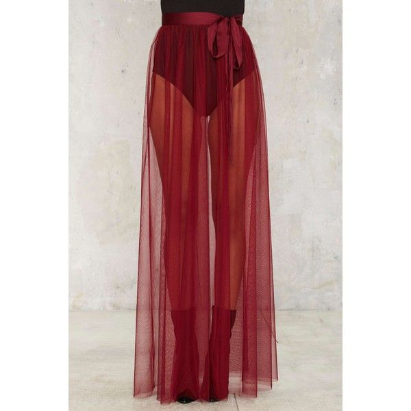 Nasty Gal Tulle Intentions Wrap Skirt ($58) ❤ liked on Polyvore featuring skirts, mini skirts, tulle maxi skirt, sheer maxi skirt, burgundy maxi skirt, short skirts and wrap skirt