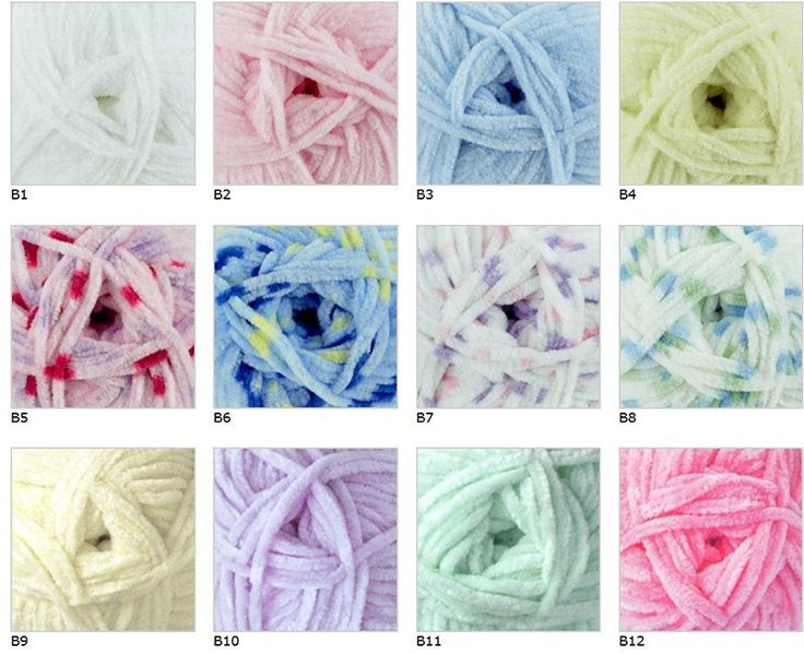 Flutterby Chunky by James C. Brett is a ridiculously soft 100% polyester yarn in sweet baby pastel colours. This machine washable, super bulky yarn is perfect