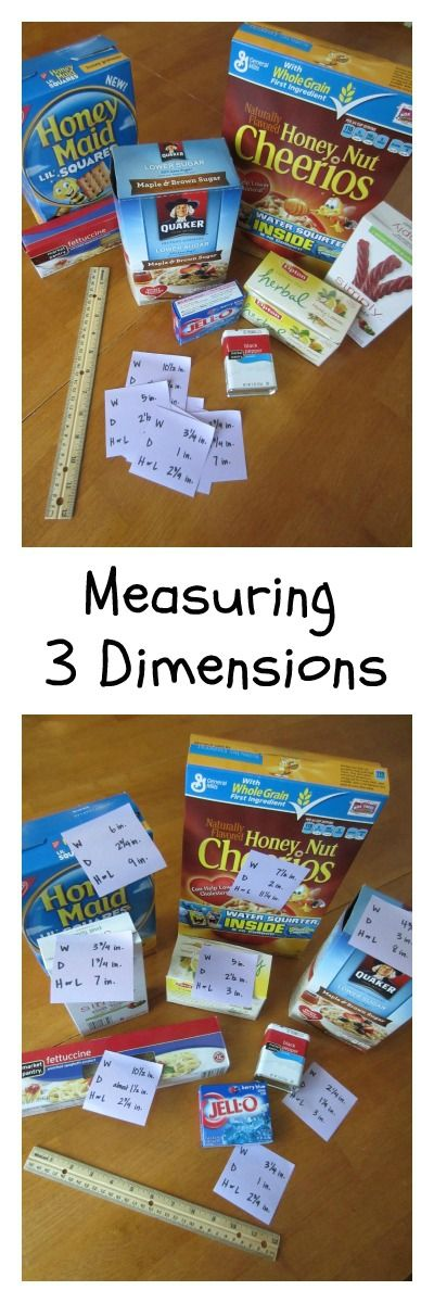 Write the dimensions of pantry items on sticky notes. Have kids measure and stick the dimensions to the right objects! This is a great way to learn depth, width, and height/length!