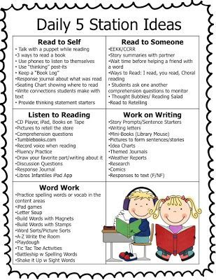 Daily 5 station ideas   infographics student