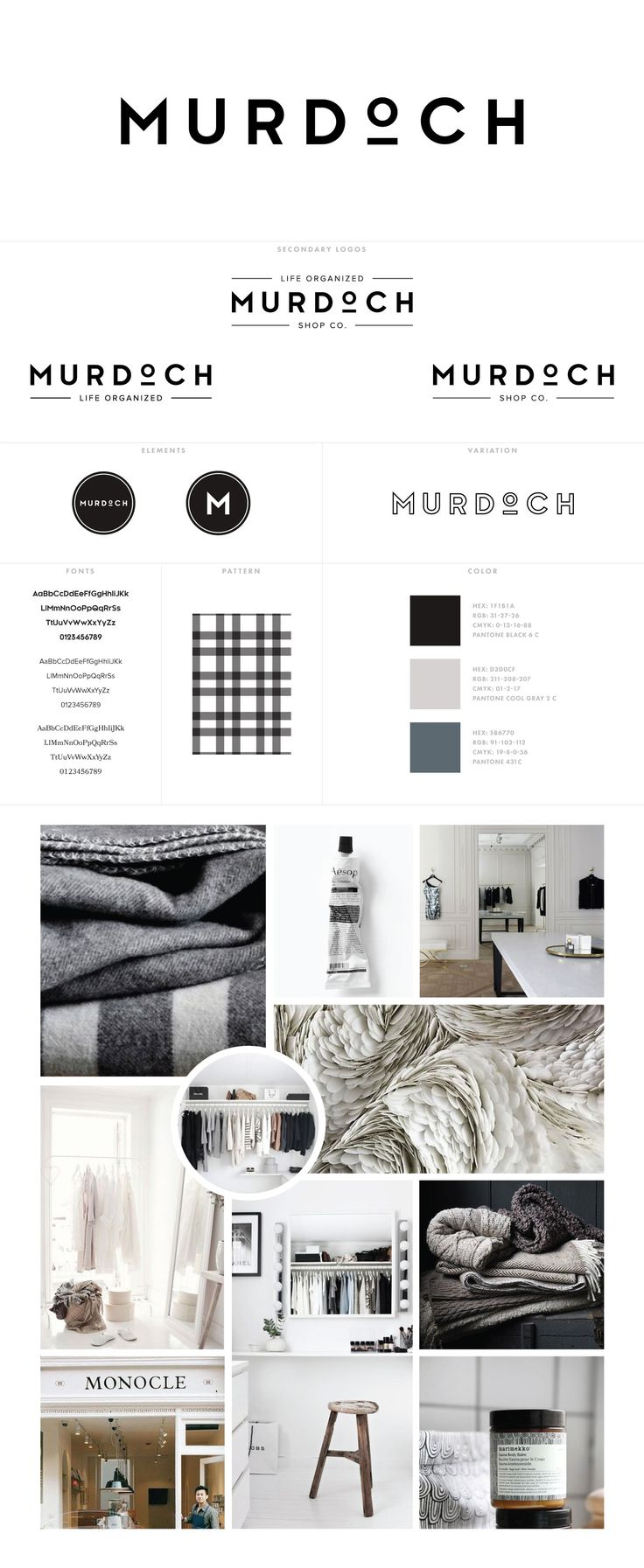 Murdoch Logos + Branding for custom brand design project, logo identity, clean lines, bold fonts, typography