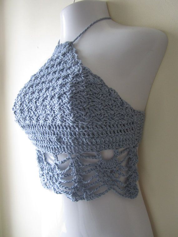 Crochet summer halter top Festival clothing by Elegantcrochets