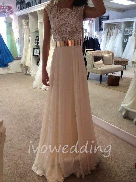 Custom Made Prom Dresses, Gold Metal Belt Long Prom Dresses ,Sexy See-Through Party Dresses Formal  - Thumbnail 1