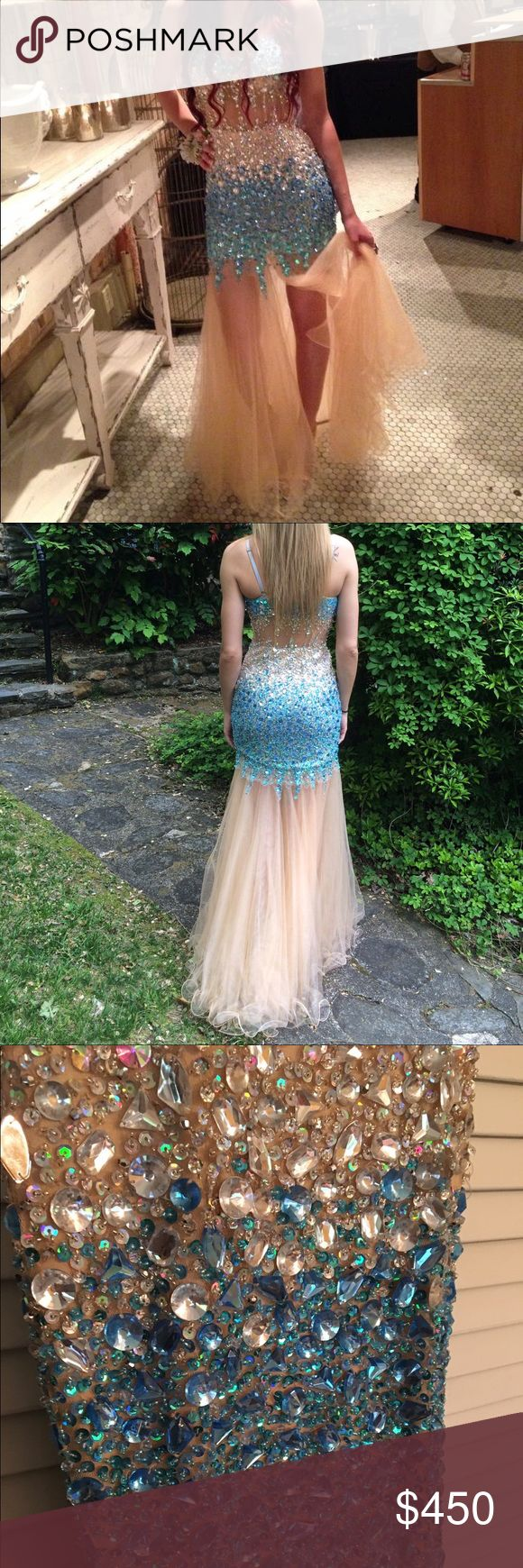 Prom Dress Beautiful beaded blue and nude prom dress size 1/2, can fit a 4. Model is 5'10 and 135 lbs Dresses Prom