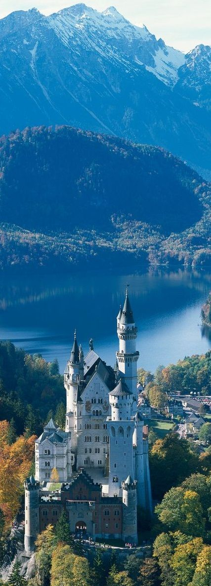 """The Neuschwanstein Castle The castle is located in Bavaria, near the town of Fussen. It was built by King Ludwig II of Bavaria, also known as the """"Fairytale King""""."""